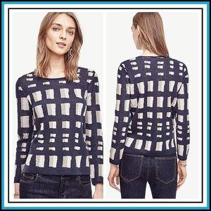 Ann Taylor Lattice Knit Topper Wool Blend Sweater